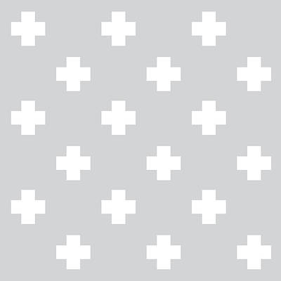 Minimalist Swiss Cross Pattern - Grey, White 01 Poster