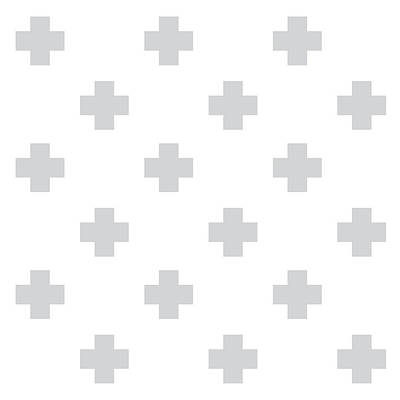 Minimalist Swiss Cross Pattern - Grey, White 02 Poster