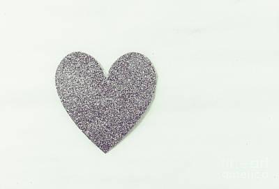 Minimalistic Silver Glitter Heart Poster
