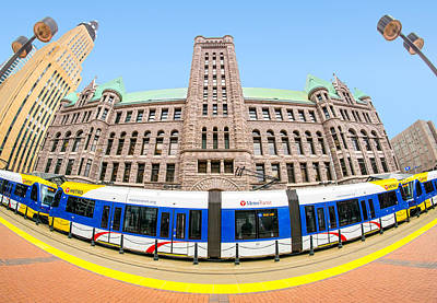Minneapolis City Hall And Blue Line Rail Poster