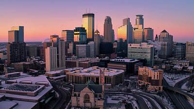 Minneapolis Skyline At Sunset Poster