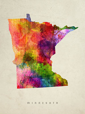 Minnesota State Map 02 Poster by Aged Pixel