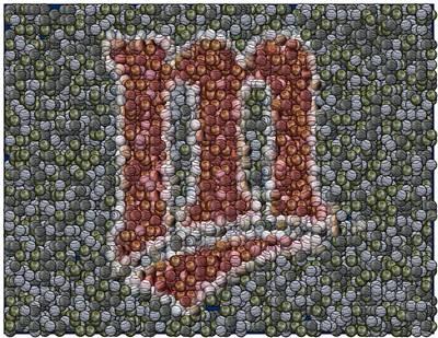 Minnesota Twins Baseball Mosaic Poster by Paul Van Scott