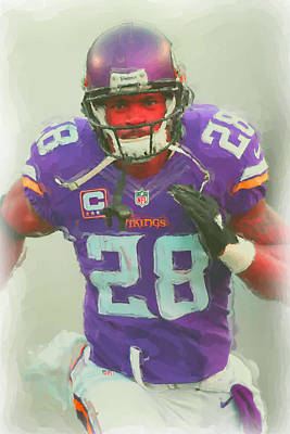 Minnesota Vikings Adrian Peterson 2 Poster by Joe Hamilton