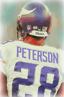 Minnesota Vikings Adrian Peterson 4 Poster by Joe Hamilton