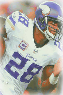 Minnesota Vikings Adrian Peterson 5 Poster by Joe Hamilton