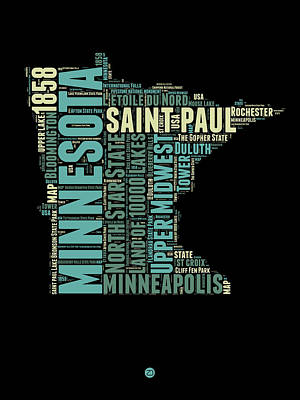 Minnesota Word Cloud Map 1 Poster by Naxart Studio