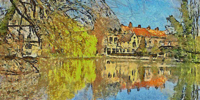 Minnewater Lake In Bruges Belgium Poster