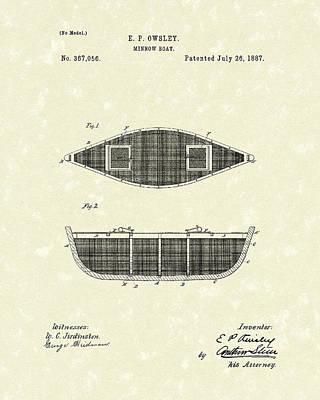 Minnow Boat 1887 Patent Art Poster