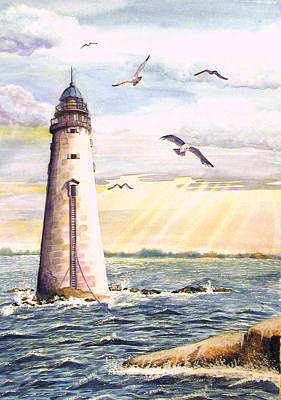 Minot Lighthouse Or The I Love You Lighthouse Poster by Martha Ayotte