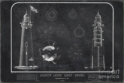 Poster featuring the drawing Minot's Ledge Light House. Massachusetts Bay Near Cohasset  by Vintage