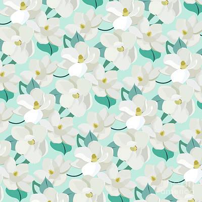 Mint Magnolias Poster by Elizabeth Tuck