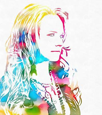 Miranda Lambert Watercolor Poster by Dan Sproul