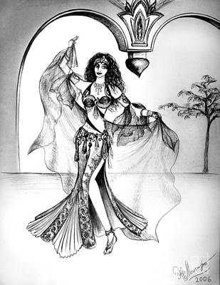 Miriam, Belly Dancer With Veil Poster by Sofia Metal Queen