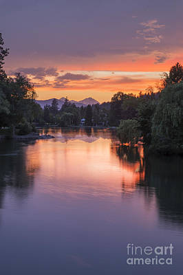 Mirror Pond Sunset In Summer Poster