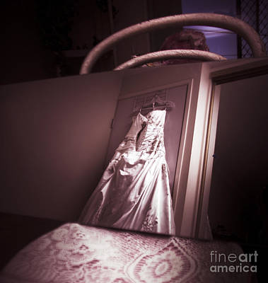 Mirror View Of A Traditional White Wedding Dress Poster