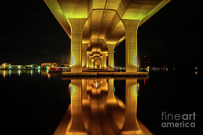 Mirrored Bridge Reflection Poster by Tom Claud