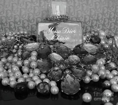Miss Dior Cherie Black And White Poster