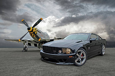Mission Accomplished - P51 With Saleen Mustang Poster by Gill Billington