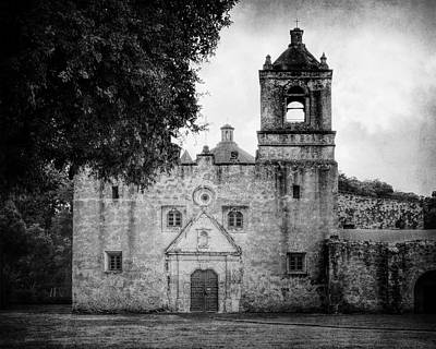 Mission Concepcion San Antonio Bw Poster by Joan Carroll