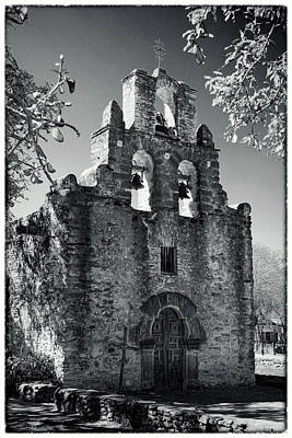 Mission Espada Door - Bw Poster by Stephen Stookey