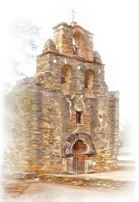 Poster featuring the photograph Mission San Francisco De La Espada In Faux Pencil Drawing  by David and Carol Kelly