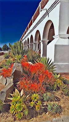 Mission San Luis Rey Garden Poster by Karyn Robinson