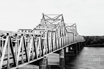 Mississippi River Bridge - Vicksburg, Ms. Bw Poster