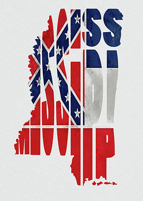 Mississippi Typography Map Flag Poster by Kevin O'Hare