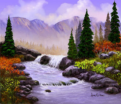 Poster featuring the painting Mist In The Mountains by Sena Wilson