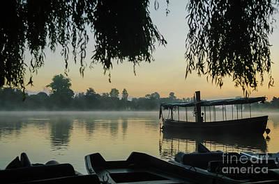 Mist Lake Silhouette Poster