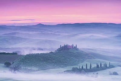 Mist Over Belvedere Poster by Michael Blanchette