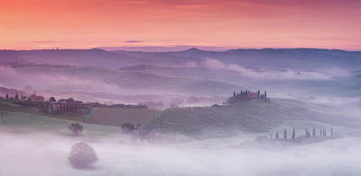 Mist Over Belvedere - Panaroma Poster by Michael Blanchette