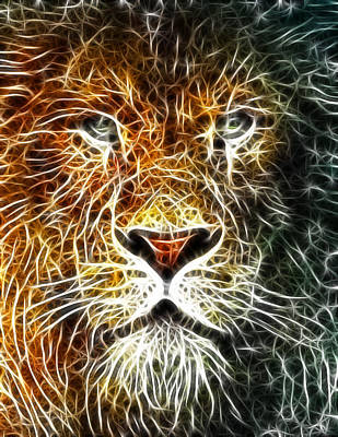 Poster featuring the mixed media Mistical Lion by Paul Van Scott