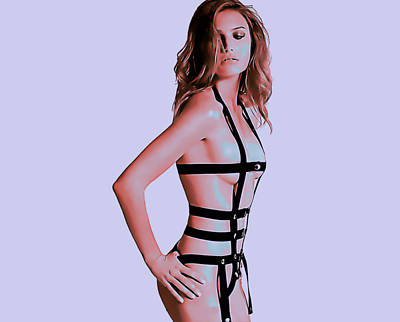 Mistress In Leather Stripes Poster by Hmd