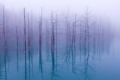 Misty Blue Pond Poster by Osamu Asami