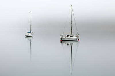 Poster featuring the photograph Misty Boats by Grant Glendinning