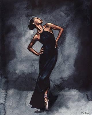 Misty Copeland Ballerina Dancer In A Black Dress Poster by Laura Row