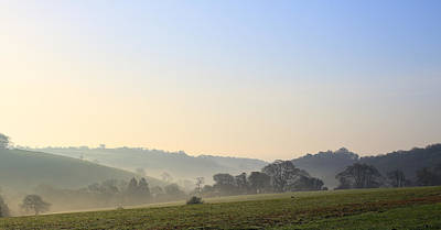 Misty Dawn Over The Cornish Countryside Poster
