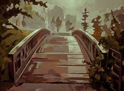 Misty Footbridge Poster by Tim  Heimdal