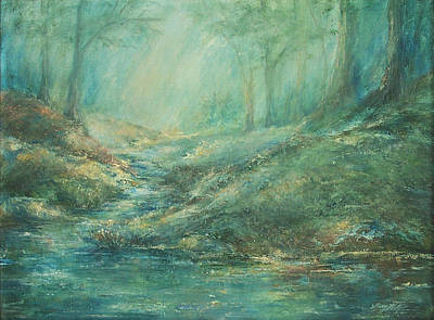The Misty Forest Stream Poster by Mary Wolf