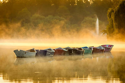 Misty Mooring Sunrise Poster by Chris Bordeleau