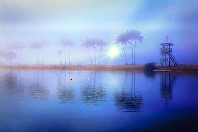 Misty Morning At The Lake Poster by Debra and Dave Vanderlaan