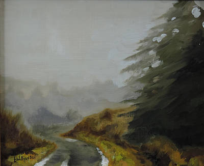 Poster featuring the painting Misty Morning, Benevenagh by Barry Williamson
