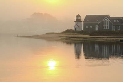 Misty Morning Hyannis Harbor Lighthouse Poster by Roupen  Baker
