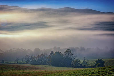 Misty Morning In Cades Cove Poster by Rick Berk