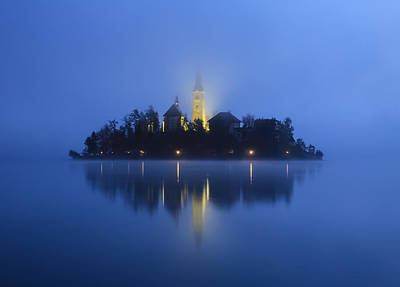 Misty Morning Lake Bled Slovenia Poster