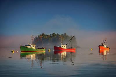 Misty Morning On Johnson Bay Poster