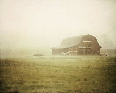 Misty Morning On The Farm Poster by Lisa Russo