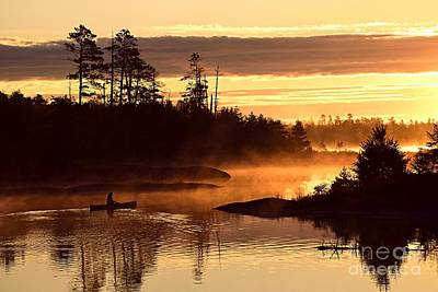 Poster featuring the photograph Misty Morning Paddle by Larry Ricker